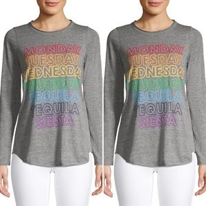 Chaser Gray Long Sleeve Graphic Tee Size Medium